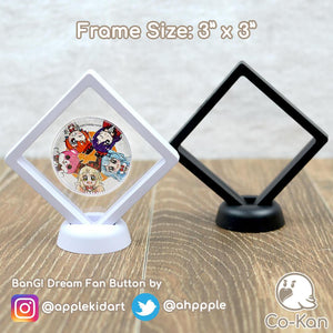 "Float Frame anime merch or ita bag accessory by Co-Kan Two pack: 3"" x 3"" Black"