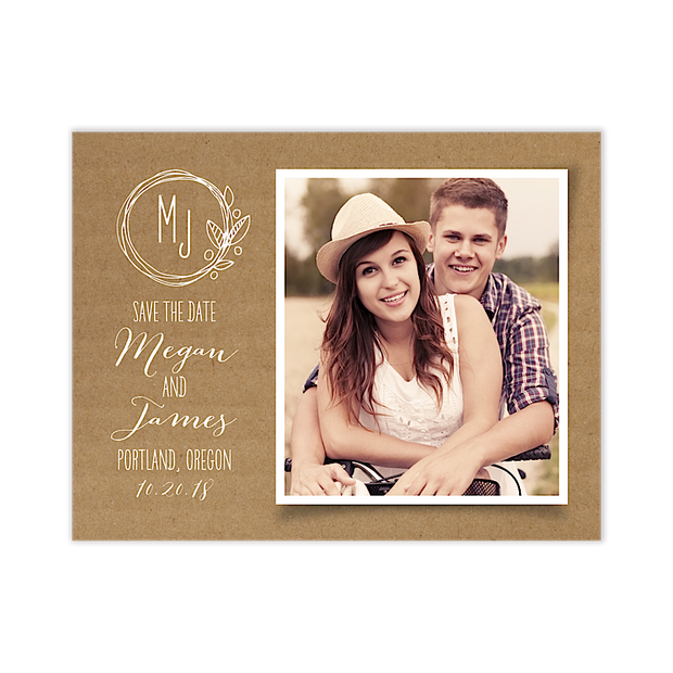 Natural Love Photo Save The Date Card