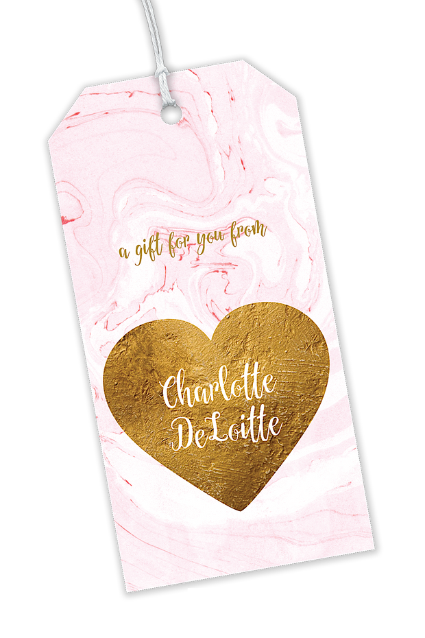 Pink Marbled With Golden Glittery Heart Gift Tag
