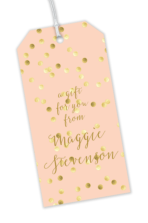 Peach With Glittery Gold Polka Dots Gift tags