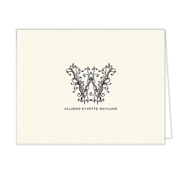 Ornate Monogram Folded Note