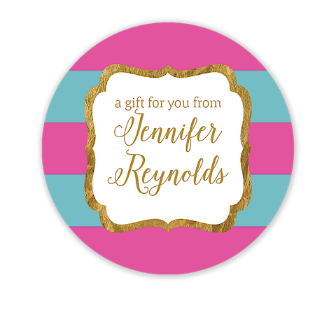 Hot Pink & Teal Glitter Frame Circle Gift Sticker - Inviting Treasures