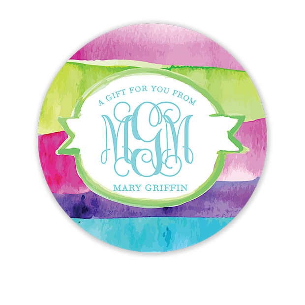 Watercolor Monogrammed Circle Gift Sticker - Inviting Treasures