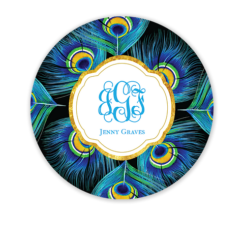 Peacock Feathers Circle Gift Sticker - Inviting Treasures