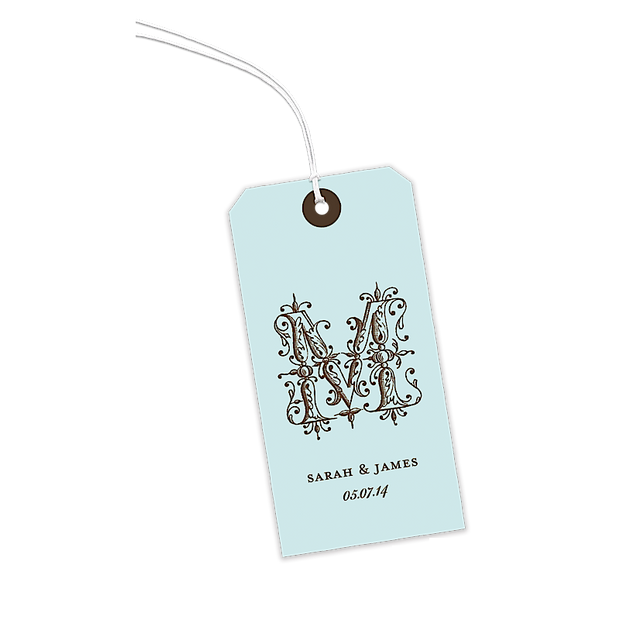 Ornate Letter Robin's Egg Gift Tags