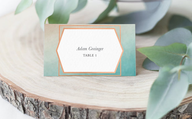 ombre design, place card, escort card, modern place card