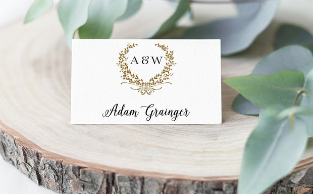 wreath, place card, escort card