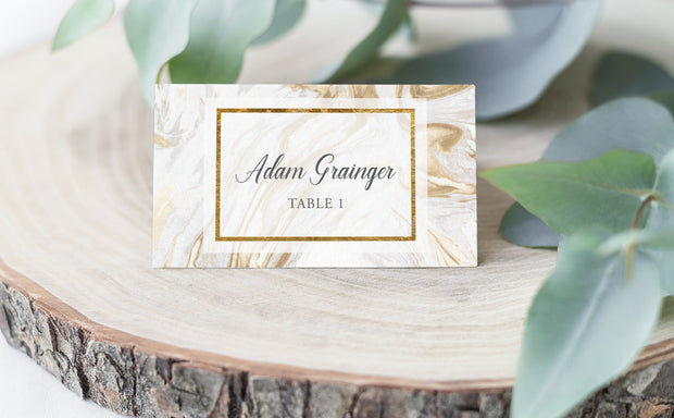 gold place card, gold escort card, gold marble place card