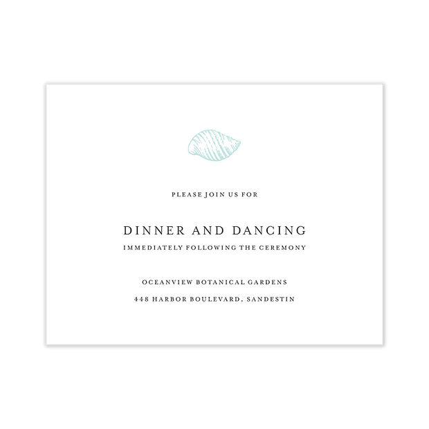Seaside Wedding Reception Card