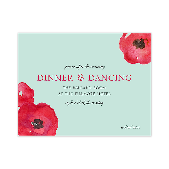 Painted Poppies Reception Card