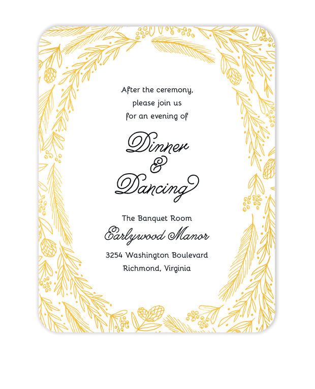 Ring Of Love Foil Pressed Reception Card