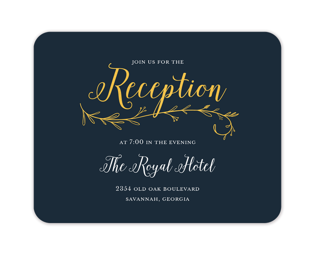 Wedding Day Foil Pressed Reception Card