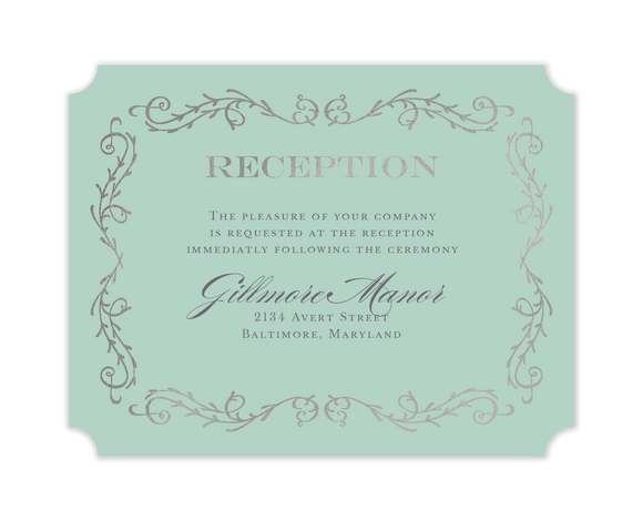 Scrolled In Foil Foil Pressed Reception Card