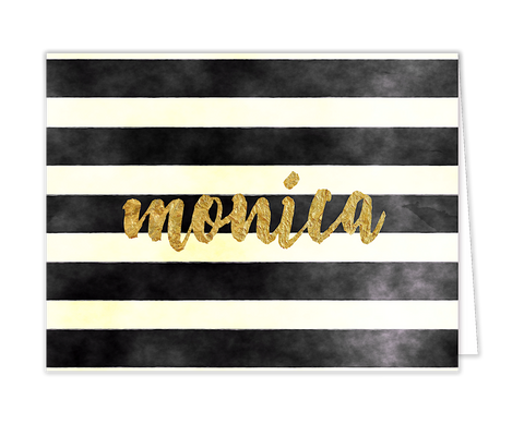 Watercolor Stripes With Glittery Name - Inviting Treasures