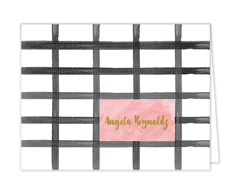 Watercolor Plaid Folded Notecard