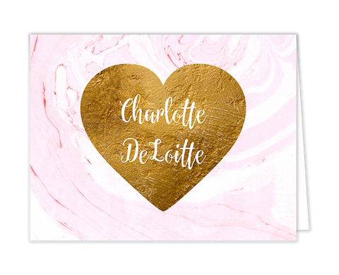 Pink Marbled Glitter Gold Heart Folded Notecard