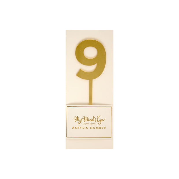 """9"" Cake Topper - Gold Acrylic"