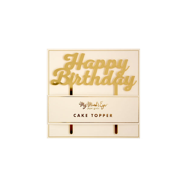 Happy Birthday Cake Topper - Gold Acrylic