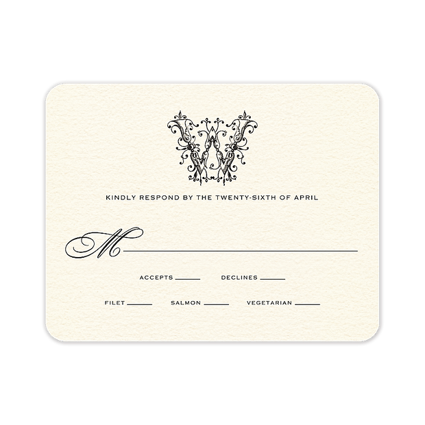 Ornate Monogram Response Card