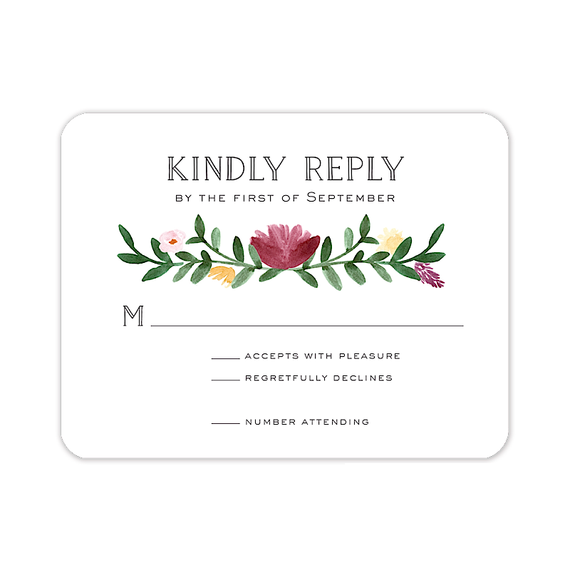 Woven Garland Reply Card