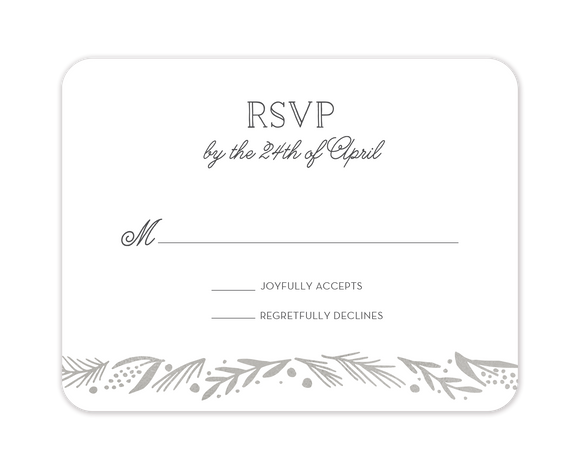 Gleaming Leaf Foil Pressed Reply Card