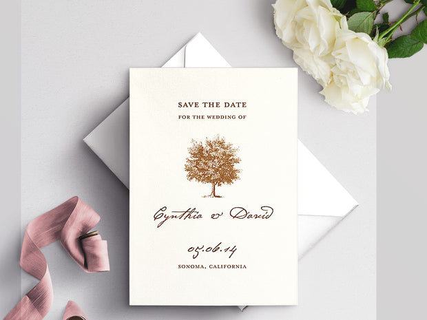 Under The Oak Save The Date Invitation on White Eggshell (cream)