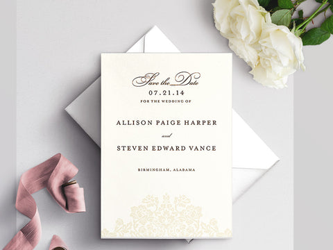 Wedding Bliss Save The Date Card on White Eggshell (cream)