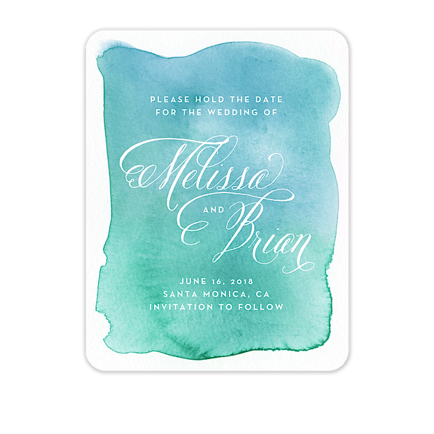 Watercolor Wash Save The Date Card