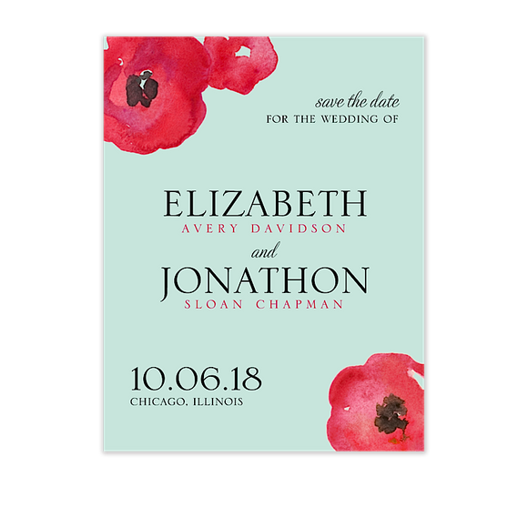 Painted Poppies Save The Date Card