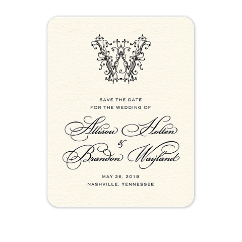 Ornate Monogram Save The Date Card