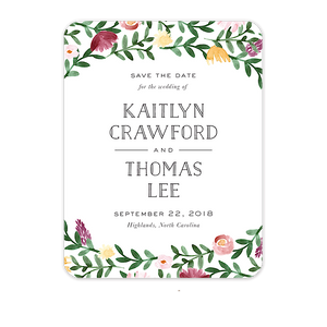 Woven Garland Save The Date Card