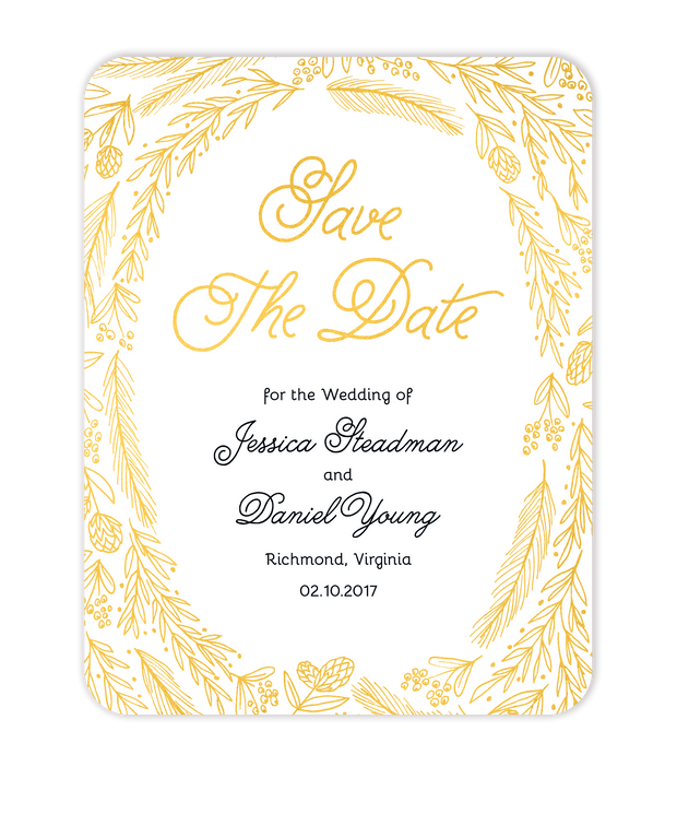 Ring Of Love Foil Pressed Save The Date Card