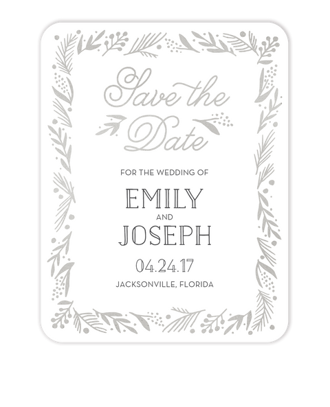 Gleaming Leaf Foil Pressed Save The Date Card