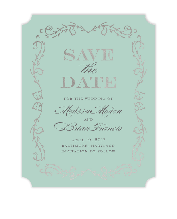 Scrolled In Foil Foil Pressed Save The Date Card