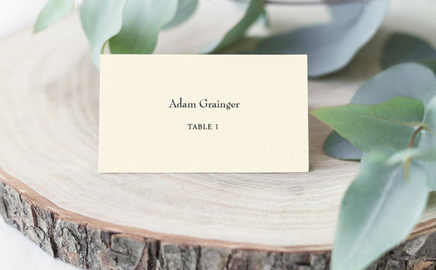 place card, escort card, cream place card