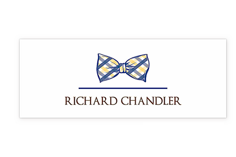 Plaid Bow Tie Water Resistant Label