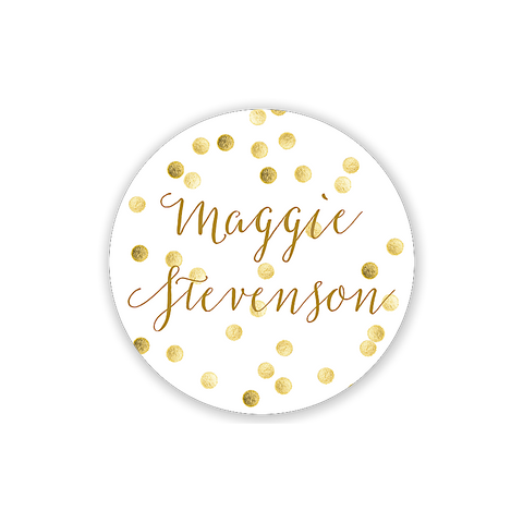 Gold Sparkly Polka Dot Circle - Inviting Treasures