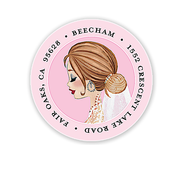 Vintage Veil (Brunette) Address Label