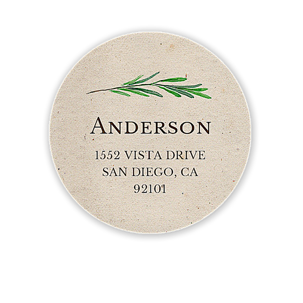 Green Vine Return Address Label