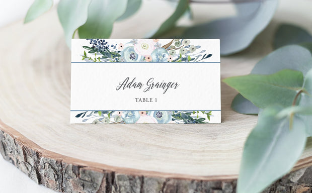 watercolor, place card, escort card, floral place card