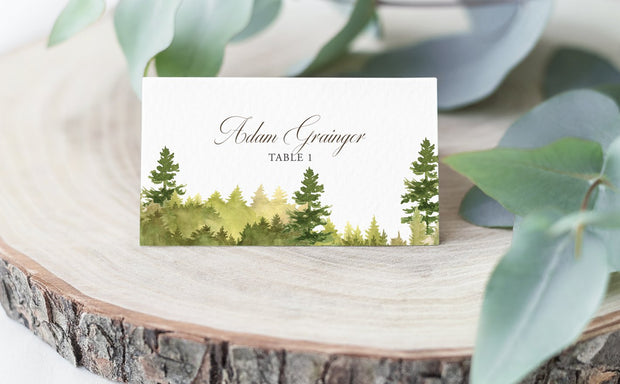Watercolor Forest, place card, escort card, greenery place card
