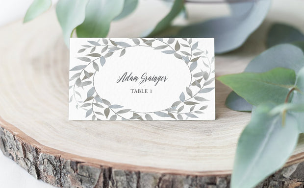 watercolor wreath, place card, escort card