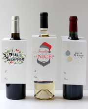 Happy Holidays Wine Tag