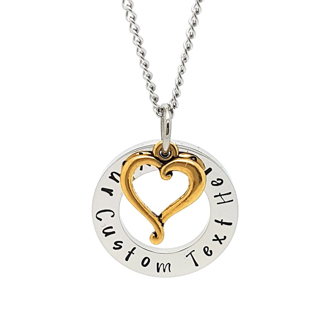 Coorabell Crafts Circle Pendant with Gold Heart Charm