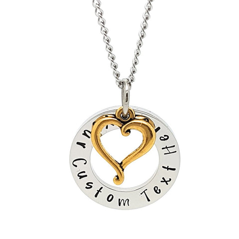 Circle Pendant with Gold Heart Charm