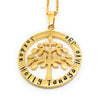 Family names gold tree pendant