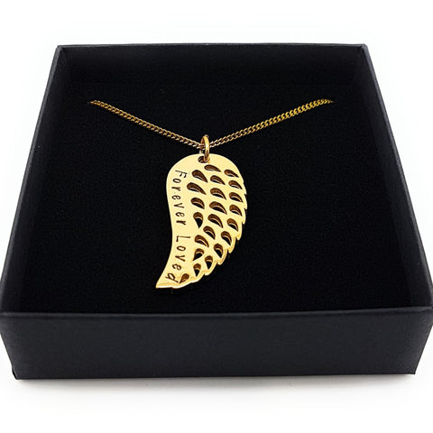 Gold Angel Wing Memorial Pendant