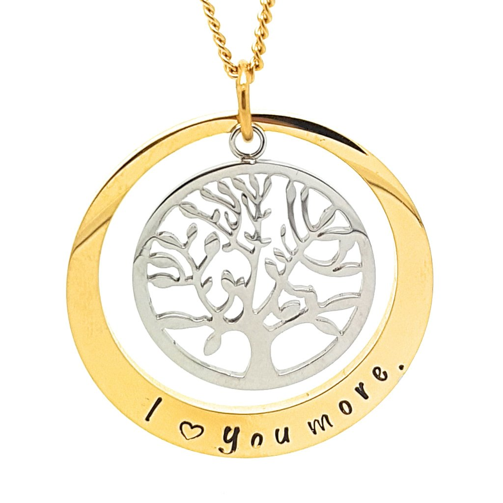 Coorabell Crafts Gold oval personalised pendant with Silver Tree of Life charm