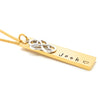 Gold Rectangle Bar Necklace Love Heart Infinity Charm