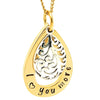 Gold Tear Drop Pendant with Filigree Silver Charm